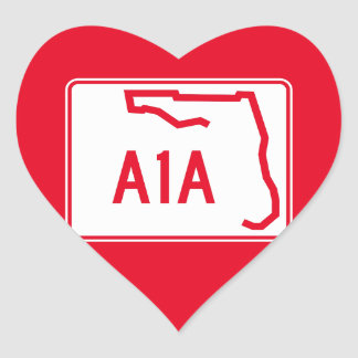 Ruta A1A del estado de la Florida Pegatina En Forma De Corazón