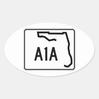 Ruta A1A del estado de la Florida Pegatina Ovalada