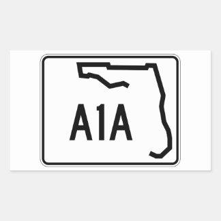 Ruta A1A del estado de la Florida Pegatina Rectangular