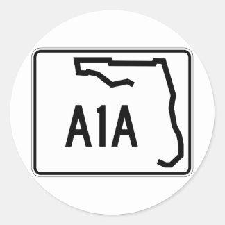 Ruta A1A del estado de la Florida Pegatina Redonda