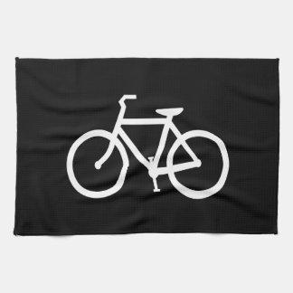 Ruta blanca de la bici toallas de mano