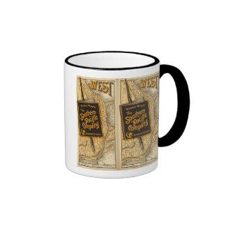 Ruta de la puesta del sol tazas de café