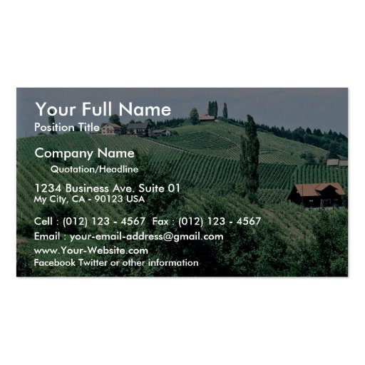 Ruta del vino en Siria meridional, Austria en el C Tarjetas Personales
