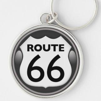 Ruta histórica 66 de los E.E.U.U. Llavero Redondo Plateado