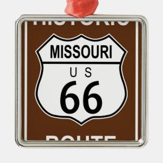 Ruta histórica 66 de Missouri Adorno Navideño Cuadrado De Metal