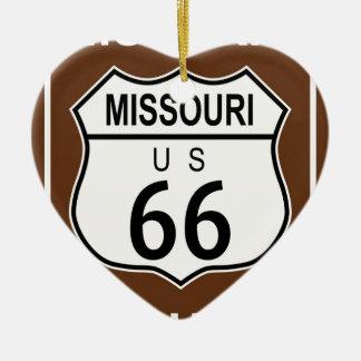 Ruta histórica 66 de Missouri Adorno Navideño De Cerámica En Forma De Corazón