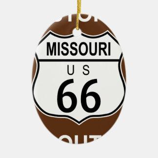 Ruta histórica 66 de Missouri Adorno Navideño Ovalado De Cerámica