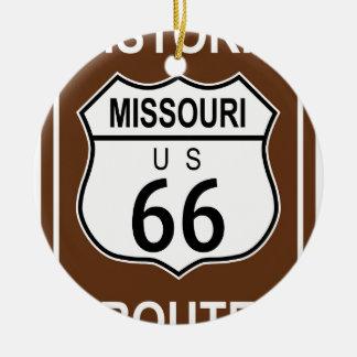 Ruta histórica 66 de Missouri Adorno Navideño Redondo De Cerámica