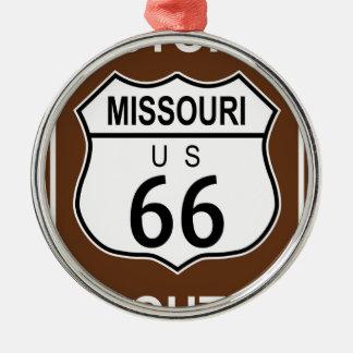 Ruta histórica 66 de Missouri Adorno Navideño Redondo De Metal