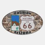 Ruta histórica 66 Oatman Arizona de los E.E.U.U. Calcomania De Oval Personalizadas