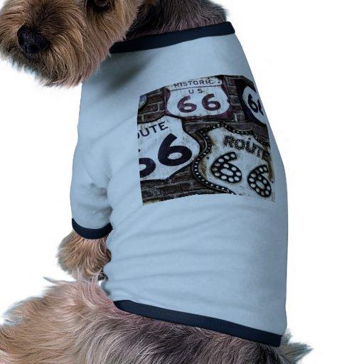 Ruta icónica 66 camiseta con mangas para perro