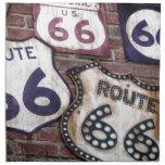 Ruta icónica 66 del vintage servilletas