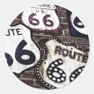 Ruta icónica 66 pegatina redonda