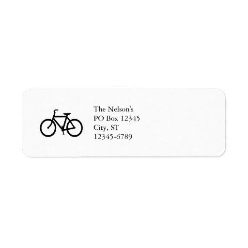 Ruta negra de la bici etiqueta de remite