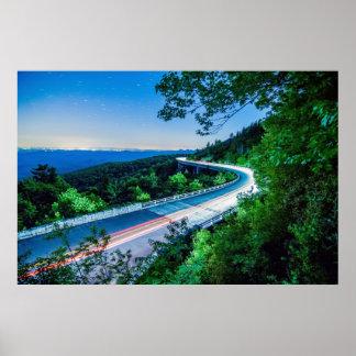 ruta verde azul del canto del viaducto de la ensen póster