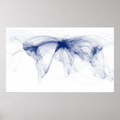 Rutas de la línea aérea del mundo (azul) - agosto  posters