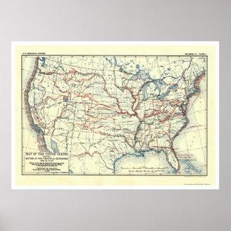 Rutas del explorador en América 1907 Posters