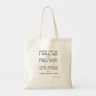 Ruth 1:16   Inspirational Bible verse Tote Bag