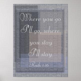 Ruth 1:16 - poster print