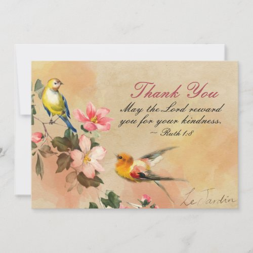 Ruth 1:8 May the Lord reward you for you kindness, Thank You Card