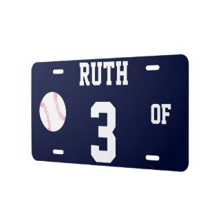 Ruth 3 OF Template Baseball Novelty License Plate