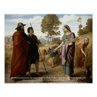 Ruth and Boaz Bible Scripture Art Print