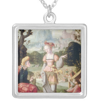 Ruth and Naomi in the field of Boaz, c.1530-40 Silver Plated Necklace