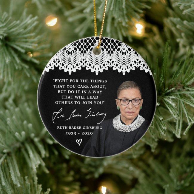 Ruth Bader Ginsburg Lace Collar RBG Christmas Tree Ceramic Ornament