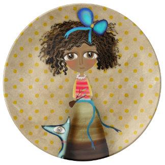 Ruth Fitta Schulz - Africa Art Doll Blue Polka Dot Porcelain Plate