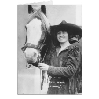 Ruth Roach and her horse. Card
