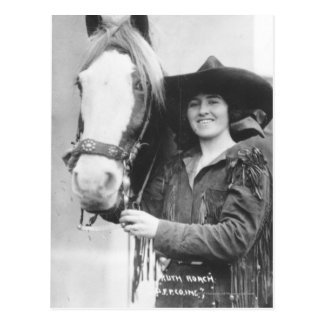 Ruth Roach and her horse. Postcard