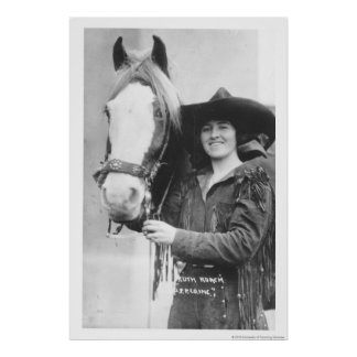 Ruth Roach and her horse. Poster