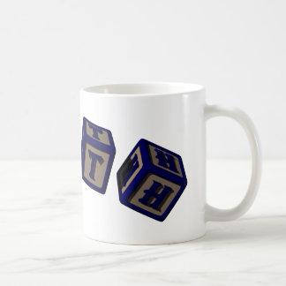 Ruth toy blocks in blue coffee mug