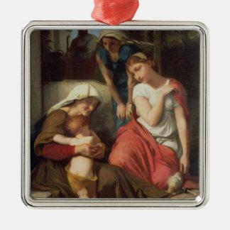 Ruth y Naomi, 1859 (aceite en lona) Adorno Navideño Cuadrado De Metal