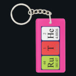 "Ruthe periodic table name keyring<br><div class=""desc"">Ruthe spelled out as Ru T He (Ruthenium Tritium Helium) on a keyring for the scientist in you.</div>"