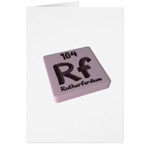 Rutherfordium del Rf Tarjeta De Felicitación