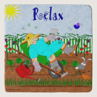 Ruthie Relaxes in the Garden Trivet