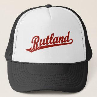Rutland script logo in red trucker hat