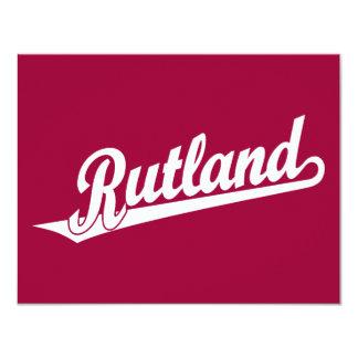 Rutland script logo in white card