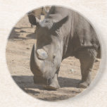 "Rutting Rhino Drink Coaster<br><div class=""desc"">Rhinoceros with two horns.</div>"