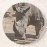 "Rutting Rhino Drink Coaster<br><div class=""desc"">Rhinoceros with two horns.</div>"