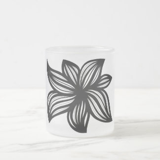 Ruwet Abstract Expression Black and White 10 Oz Frosted Glass Coffee Mug