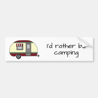 "RV and Camping ""I'd Rather Be Camping"" Bumper Sticker"