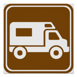 RV Campground Highway Sign Posters