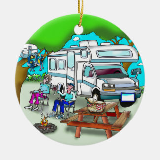 RV Cartoon 9475 Ceramic Ornament