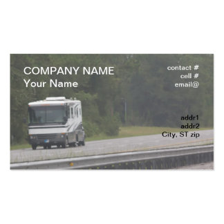 rv grande que viaja en autopista tarjetas de visita