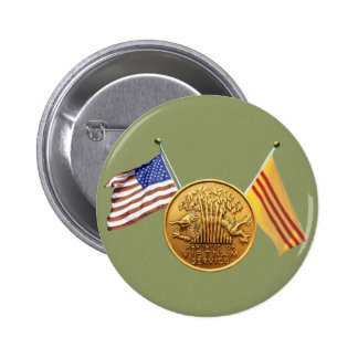 RVN service with flags green sticker Pinback Buttons