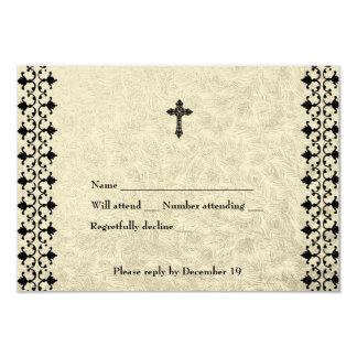 Rvsp de la cruz céltica del hierro labrado invitación 8,9 x 12,7 cm