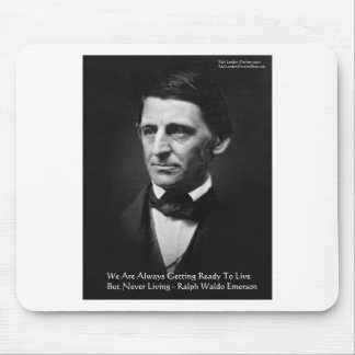 """RW Emerson """"Ready To Live"""" Wisdom Quote Gifts Mouse Pad"""