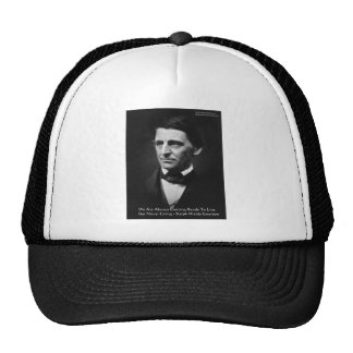 """RW Emerson """"Ready To Live"""" Wisdom Quote Gifts Trucker Hat"""